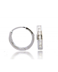 Rhodium Plated Cubic Zirconia Hoop Earrings