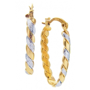 18K Gold Plated Twisted Elongated Hoops