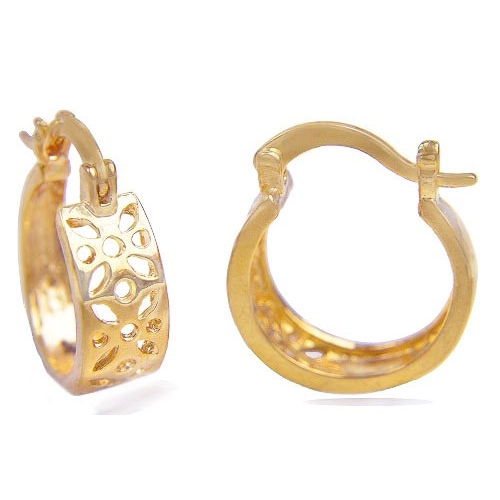 18k Gold Plated Hoop Earrings With Fl Pattern Loading Zoom