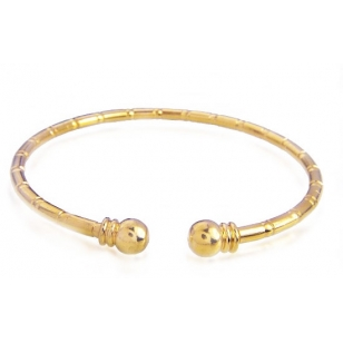 18K Gold Plated Textured Open Ended Bangle