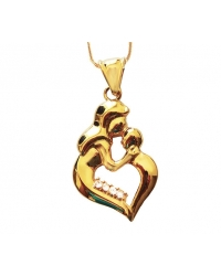 18K Gold Plated Mother and Child Pendant and Necklace