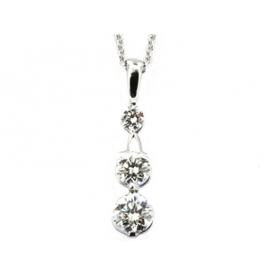 Rhodium Plated Solitaire Pendant and Necklace