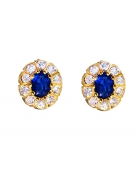 18K Gold Plated Blue Stone Earrings