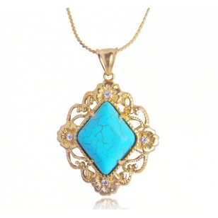 18K Gold Plated Turquoise Pendant and Necklace Set