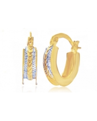 18K Gold Plated Two Tone Hoop Earrings