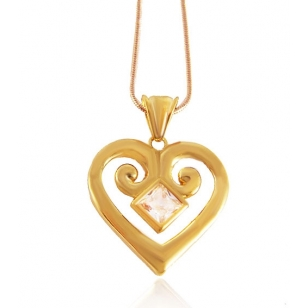 18K Gold Plated Heart Pendant and Necklace Set