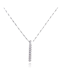 Rhodium Plated Elongated Pendant and Necklace with Cubic Zirconia