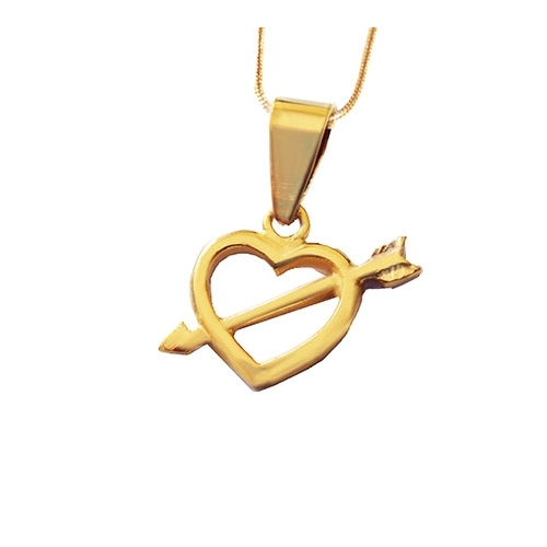 Gold heart and arrow pendant and necklace 18k gold plated heart shaped pendant and necklace set loading zoom aloadofball Choice Image
