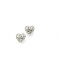 Rhodium Plated Heart Earrings
