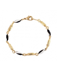 Black and White 18K Gold Plated Bracelet