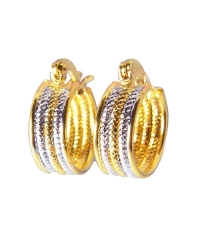 18K Gold Two Tone Textured Earrings