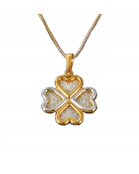 Two Tone Gold Plated Clover Pendant And Necklace