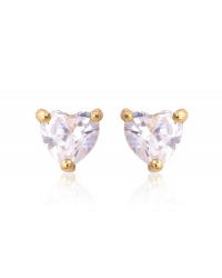 Cubic Zirconia Heart Shaped Stud Earrings