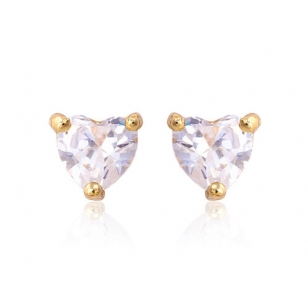 Rhodium Plated Cubic Zirconia Heart Shaped Stud Earrings