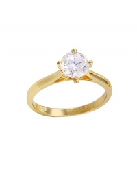 18K Gold Plated Solitaire Ring