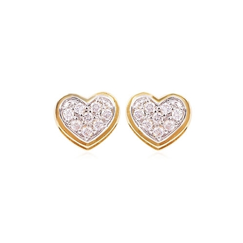 18k Gold Plated Heart Shaped Earrings Loading Zoom