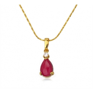 18K Gold Plated Purple Stone Pendant and Necklace Set