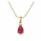 18K Gold Plated Red Stone Pendant and Necklace