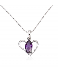 Purple Heart Pendant with Necklace