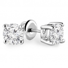 Rhodium Plated Cubic Zirconia Stud Solitaire Earrings