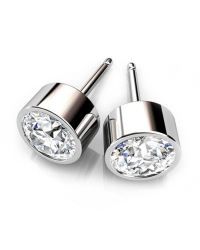 Bezel Set Rodium Plated Cubic Zirconia Stud Earrings