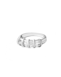 Rhodium Plated Cubic Zirconia Art Deco Ring