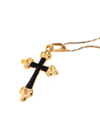 Gold Cross Pendant and Necklace with Red Enamel