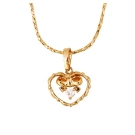 Gold Heart Pendant and Necklace
