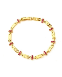 Bracelet Plaqué en or 18K à Pierres Rouges