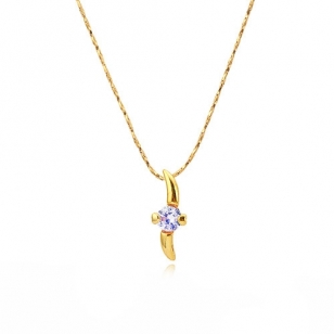 14K Gold Plated Heart Shaped Solitaire Pendant and Necklace