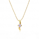14K Gold Plated Solitaire Pendant and Necklace