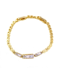 14K Gold Plated Bracelet With Simulated Diamonds