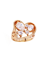 18K Gold Plated Heart Ring with Simulated Diamonds