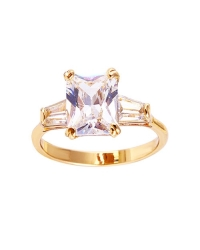 Three Stone Simulated Diamond Ring