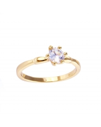 18K Gold Plated Solitaire Engagement Ring
