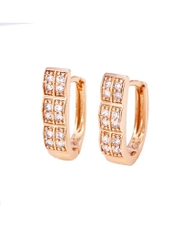 Rose Gold Plated Hoop Earrings with Simulated Diamonds