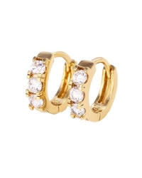 14K Gold Plated Hoop Earrings with Simulated Diamonds