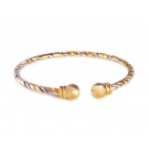 18K Gold Plated Two Tone Twisted Open Ended Bangle