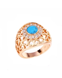 18K Gold Plated Ring with Pink Solitaire Stone