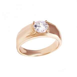 18K Gold Plated Ring with Red Solitaire Stone
