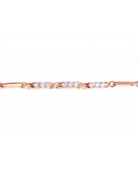 18K Gold Plated Infinity Bracelet With Simulated Diamonds