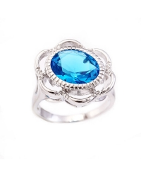14K Gold Plated Ring with Blue Solitaire Stone
