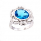 Rhodium Plated Ring with Blue Solitaire Stone