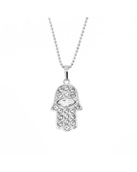Hamsa Pendant and Necklace with Simulated Diamonds