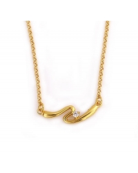 18K Gold Plated Necklace with Simulated Diamond