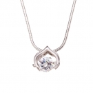 Simulated Diamond Solitaire Pendant with Chain