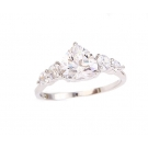 Heart Simulated Diamond Engagement Ring
