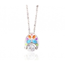 Colored Enamel Necklace and Pendant with Simulated Diamond