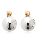 Double Sided Earrings with Simulated Diamonds