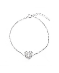 Heart Bracelet with Simulated Diamonds